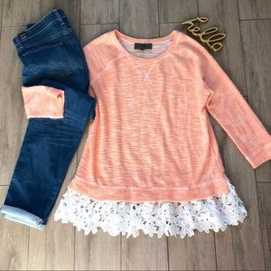 Anthro Sunday in Brooklyn Citrus Lace Hem Pullover